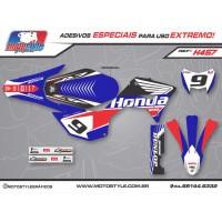 H457 GRÁFICO ADESIVO HONDA CRF 250F FACTORY RACING AZUL E PRETO