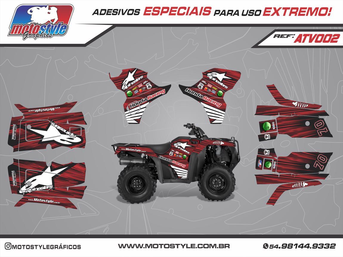 ATV 002 GRÁFICO ADESIVO QUADRICICLO HONDA FOURTRAX ALPINESTARS