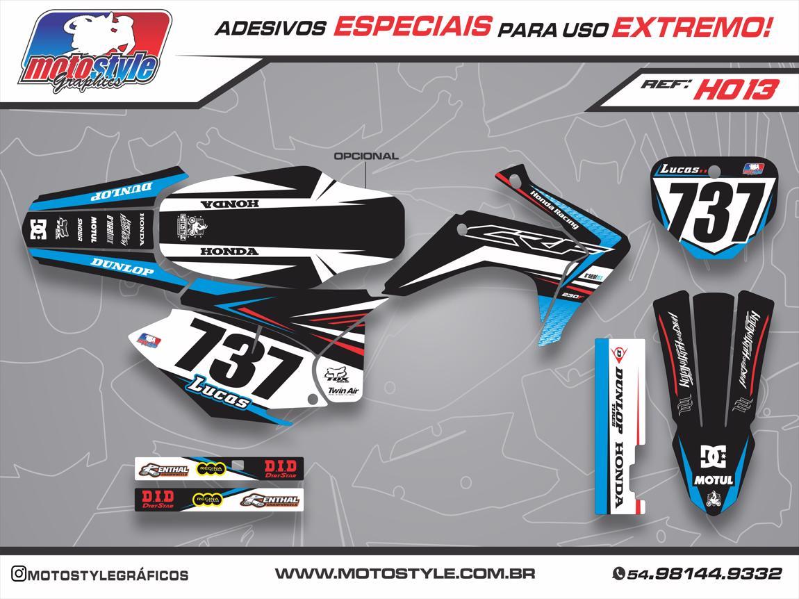 H013 GRÁFICO ADESIVO HONDA CRF 230 PRETO E AZUL