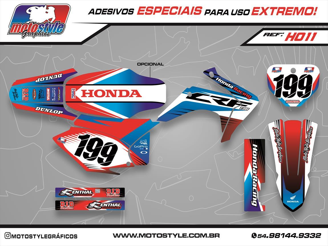 H011 GRÁFICO ADESIVO HONDA CRF 230 HONDA RACING AZUL E VERMELHO