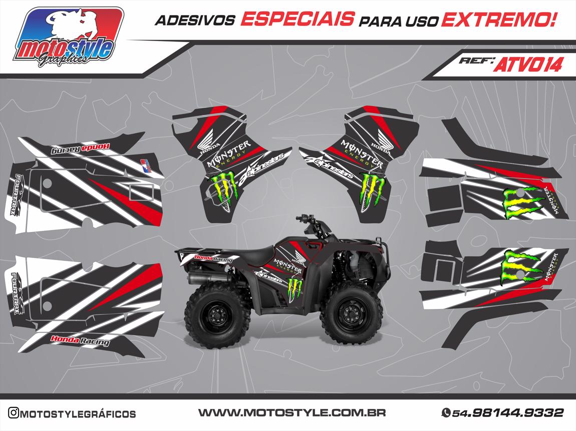 ATV 014 GRÁFICO ADESIVO QUADRICICLO HONDA FOURTRAX MONSTER